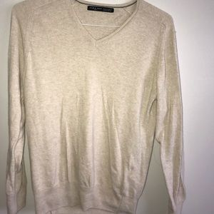 Zara Man V neck cream sweater